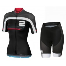 2016 Sportful Gruppetto Black-Grey Women Jersey And Regular Shorts Set
