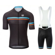 2017 Giordana Striae Black Cycling Jersey And Bib Shorts Kit