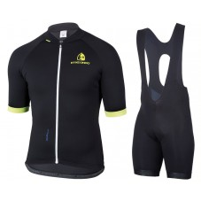 2017 Etxeondo Entzun Black-Yellow Cycling Jersey And Bib Shorts Kit
