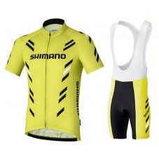 2017 Shimano Performance Print Yellow Cycling Jersey And Bib Shorts Kit