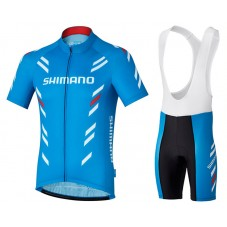 2017 Shimano Performance Print Blue Cycling Jersey And Bib Shorts Kit