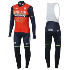 2017 Bahrain-Merida Red-Black Long Sleeve Cycling Jersey And Bib Pants Kit