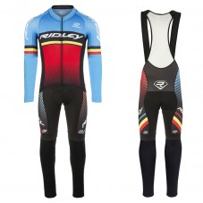 2017 Ridley Rincon Blue-Red Long Sleeve Cycling Jersey And Bib Pants Kit
