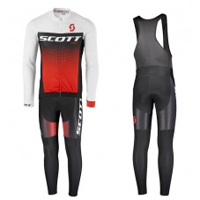 2017 Scott RC White-Black-Red Long Sleeve Cycling Jersey And Bib Pants Kit