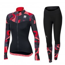 2017 Sportful Primavera Red Women Long Sleeve Cycling Jersey And Pants Kit