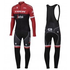 2017 Trek Pro Race Red Long Sleeve Cycling Jersey And Bib Pants Kit