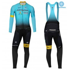 2017 Team Astana Blue Thermal Cycling Jersey And Bib Pants Kit