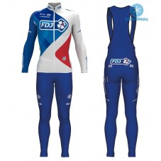 2017 Team FDJ White Thermal Cycling Jersey And Bib Pants Kit