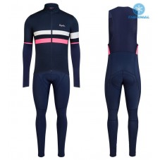 2017 Rapha Brevet Blue-Pink Thermal Cycling Jersey And Bib Pants Kit