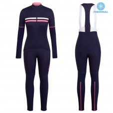 2017 Rapha Brevet Blue-Pink Women Thermal Cycling Jersey And Bib Pants Kit
