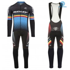 2017 Ridley Rincon Black-Blue Thermal Cycling Jersey And Bib Pants Kit