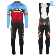 2017 Ridley Rincon Blue-Red Thermal Cycling Jersey And Bib Pants Kit