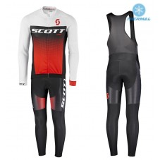 2017 Scott RC White-Black-Red Thermal Cycling Jersey And Bib Pants Kit