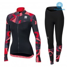 2017 Sportful Primavera Red Women Thermal Cycling Jersey And Pants Kit