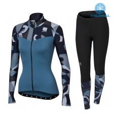 2017 Sportful Primavera Blue Women Thermal Cycling Jersey And Pants Kit