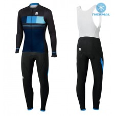 2017 Sportful Stripe Blue Thermal Cycling Jersey And Bib Pants Kit