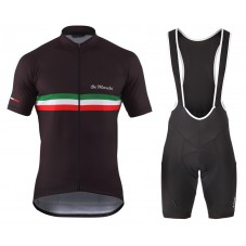 2016 De Marchi PT Italy Flag Black Cycling Jersey And Bib Shorts Set