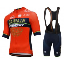 2018 Team Merida Bahrain Red Cycling Jersey And Bib Shorts Kit