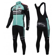 2016 Bianchi MTB Green Long Sleeve Cycling Jersey And Bib Pants Set