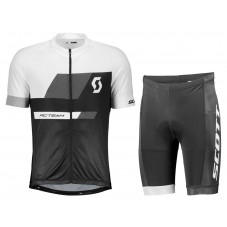 2018 SCOTT-TEAM 1.0 Black-White Cycling Jersey And Shorts Kit