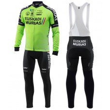 2018 Euskadi Murias Team Green Long Sleeve Cycling Jersey And Bib Pants Kit