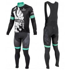 2016 Bianchi Milano Sorisole Black-Green Long Sleeve Cycling Jersey And Bib Pants Set