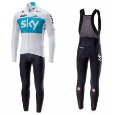 2018 SKY Team White Long Sleeve Cycling Jersey And Bib Pants Kit