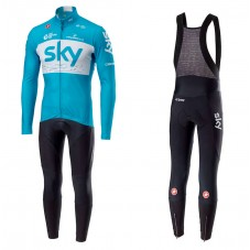 2018 SKY Team Blue Long Sleeve Cycling Jersey And Bib Pants Kit