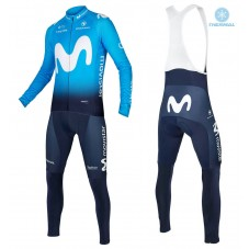 2018 Movistar Team Blue Thermal Cycling Jersey And Bib Pants Kit