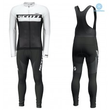 2018 Scott-RC Black-White Thermal Cycling Jersey And Bib Pants Kit