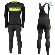 2018 Scott-RC Black-Yellow Thermal Cycling Jersey And Bib Pants Kit