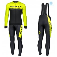 2019 Scott-RC PRO Black-Yellow Thermal Cycling Jersey And Bib Pants Kit