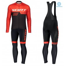 2019 Scott-RC-Team Black-Red Thermal Cycling Jersey And Bib Pants Kit