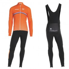 2019 Nederland Country Team Long Sleeve Cycling Jersey And Bib Pants Kit