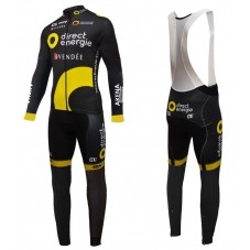2016 Direct Energie Team Black Long Sleeve Cycling Jersey And Bib Pants Set