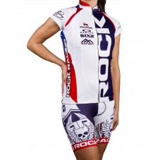 2016 RockRacing America White-Blue Women Cycling Jersey And Bib Shorts Set