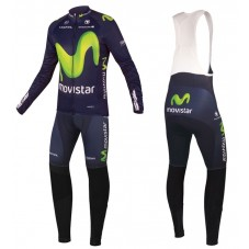 2016 Movistar Team Long Sleeve Cycling Jersey And Bib Pants Set