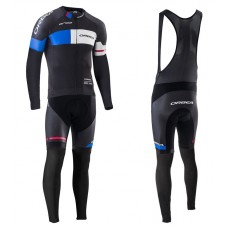 2016 Orbea Team Pro Black-Blue Long Sleeve Cycling Jersey And Bib Pants Set