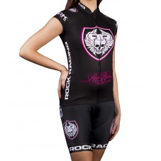 2016 RockRacing Black-Pink Women Cycling Jersey And Bib Shorts Set