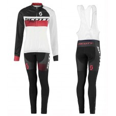 2016 Scott RC White-Black-Red Women Long Sleeve Cycling Jersey And Bib Pants Set