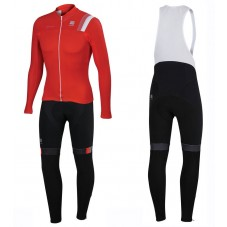 2016 Sportful JSW Red Long Sleeve Cycling Jersey And Bib Pants Set