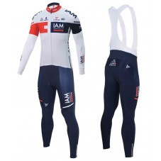 2016 Team IAM White Long Sleeve Cycling Jersey And Bib Pants Set