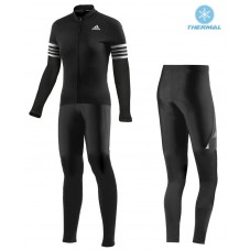 2016 ADIDS Aero Women Black Thermal Long Cycling Long Sleeve Jersey And Pants Set