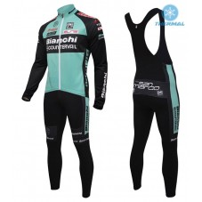 2016 Bianchi MTB Green Thermal Long Cycling Long Sleeve Jersey And Bib Pants Set