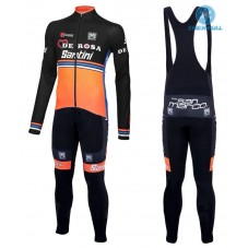 2016 Team DE-ROSA Black-Orange Thermal Long Cycling Long Sleeve Jersey And Bib Pants Set