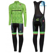 2016 Cannondale Team Green Pro Thermal Long Cycling Long Sleeve Jersey And Bib Pants Set