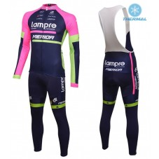 2016 Lampre Merida Thermal Long Cycling Long Sleeve Jersey And Bib Pants Set