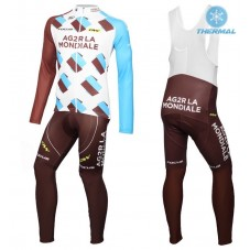 2016 Team Ag2r Thermal Long Cycling Long Sleeve Jersey And Bib Pants Set