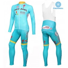 2016 Astana Pro Team Thermal Long Cycling Long Sleeve Jersey And Bib Pants Set