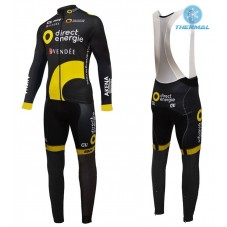 2016 Direct Energie Team Black Thermal Long Cycling Long Sleeve Jersey And Bib Pants Set